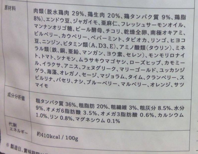 ロニーキャットフードの原材料表記